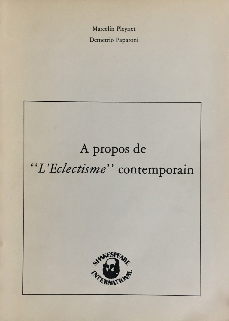 Demetrio Paparoni /Marcelin Pleynet / A propos de